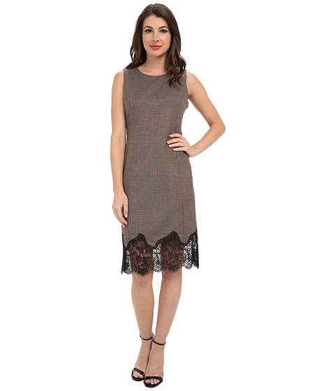 Vince Camuto - S/L Shift Dress w/ Lace Trim (Walnut) Women's Dress