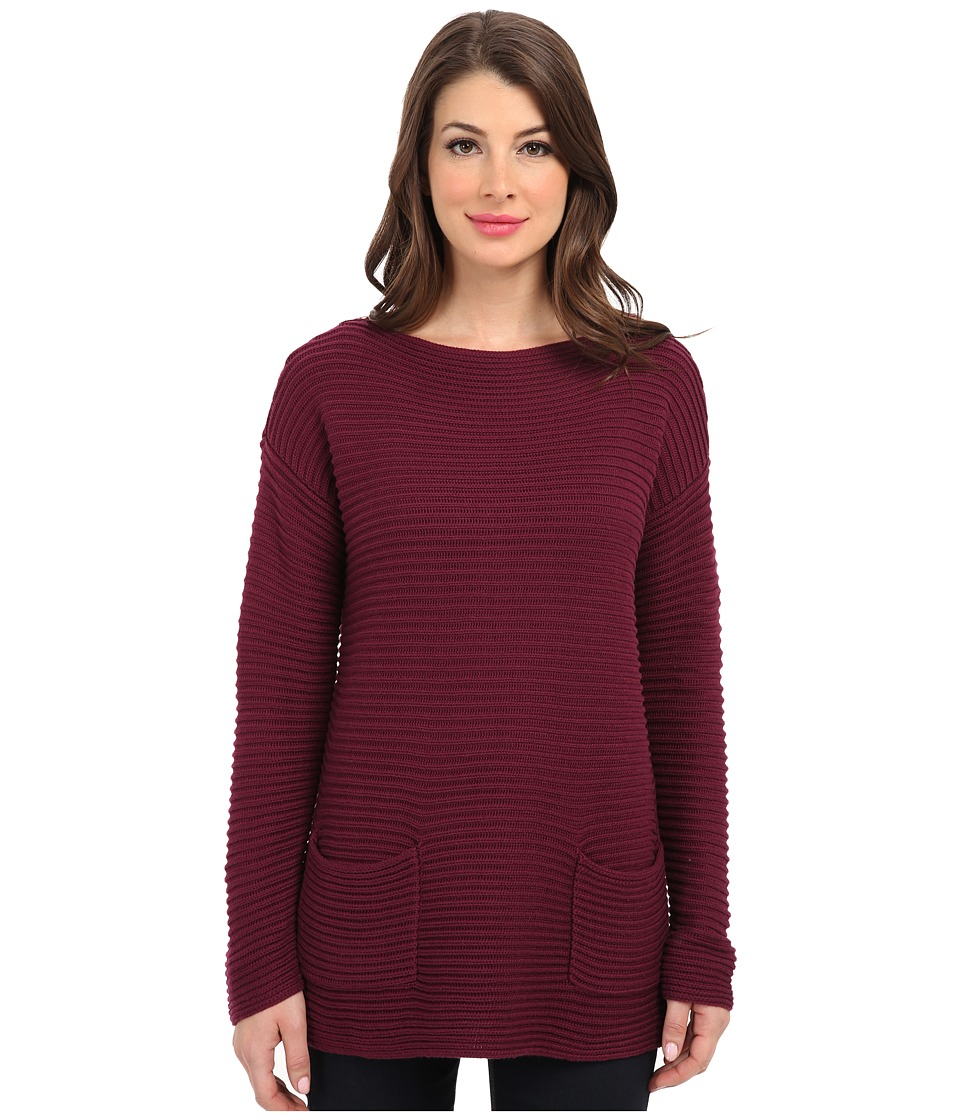Vince Camuto - L/S Boatneck Sweater w/ Front Pockets (Maroon) Women