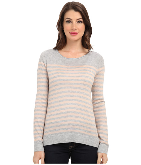 Vince Camuto - L/S Stripe Crew Neck Sweater (Med Hunter Grey) Women's Sweater