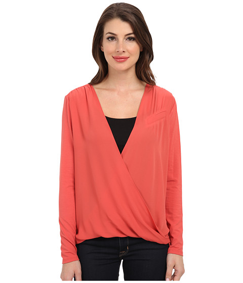 Vince Camuto - L/S V-Neck Wrap Top w/ Heavy GGT Sleeve (Coral Dusk) Women