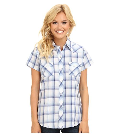 Roper - S/S 9206 Blue White Plaid Shirt (Blue) Women's Clothing