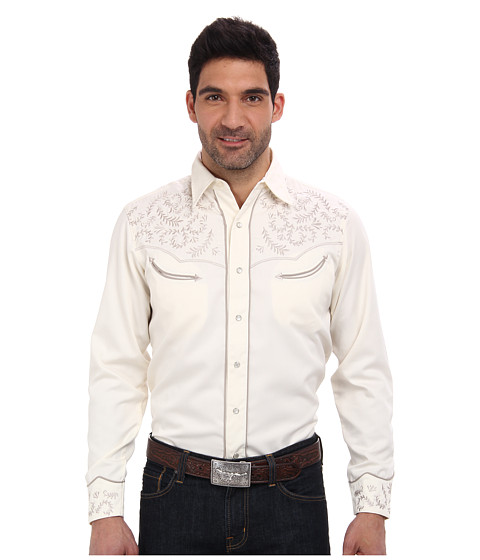 Roper - 65P/35R Twill w/ Motif Leaf Embroidered Shirt (White) Men's Long Sleeve Button Up