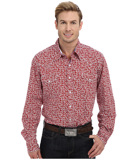 Roper - 9195 Baroque Print Shirt (Red) Men's Long Sleeve Button Up