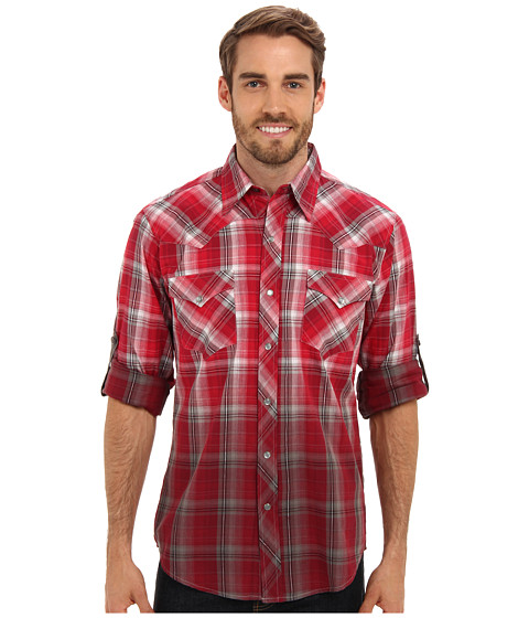 Roper - 9190 Racing Red Plaid Shirt (Red) Men's Long Sleeve Button Up