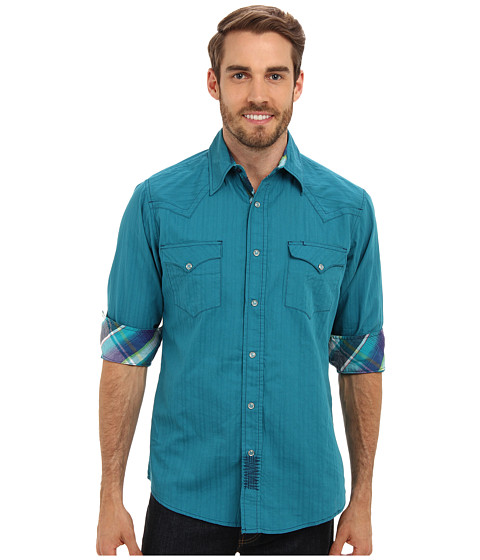 Roper - 9262C1 - Solid Dobby Shirt (Blue) Men's Long Sleeve Button Up