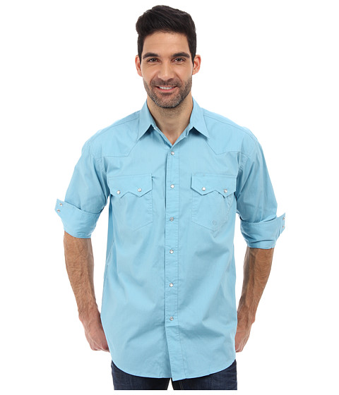 Roper - City Snap L/S Shirt (Green) Men's Long Sleeve Button Up
