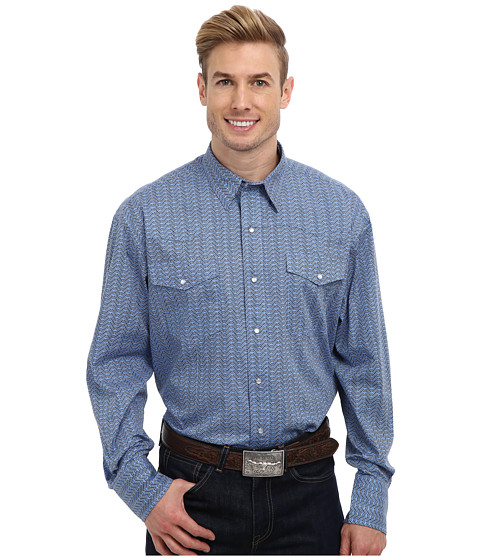 Roper - 9175 Wavy Line Print Shirt (Blue) Men's Long Sleeve Button Up