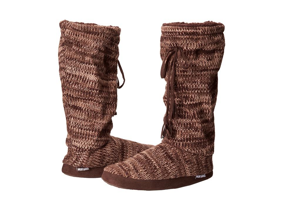 MUK LUKS - Tall Grommet Tie Boot (3 Color Marl Chocolate Chip) Women