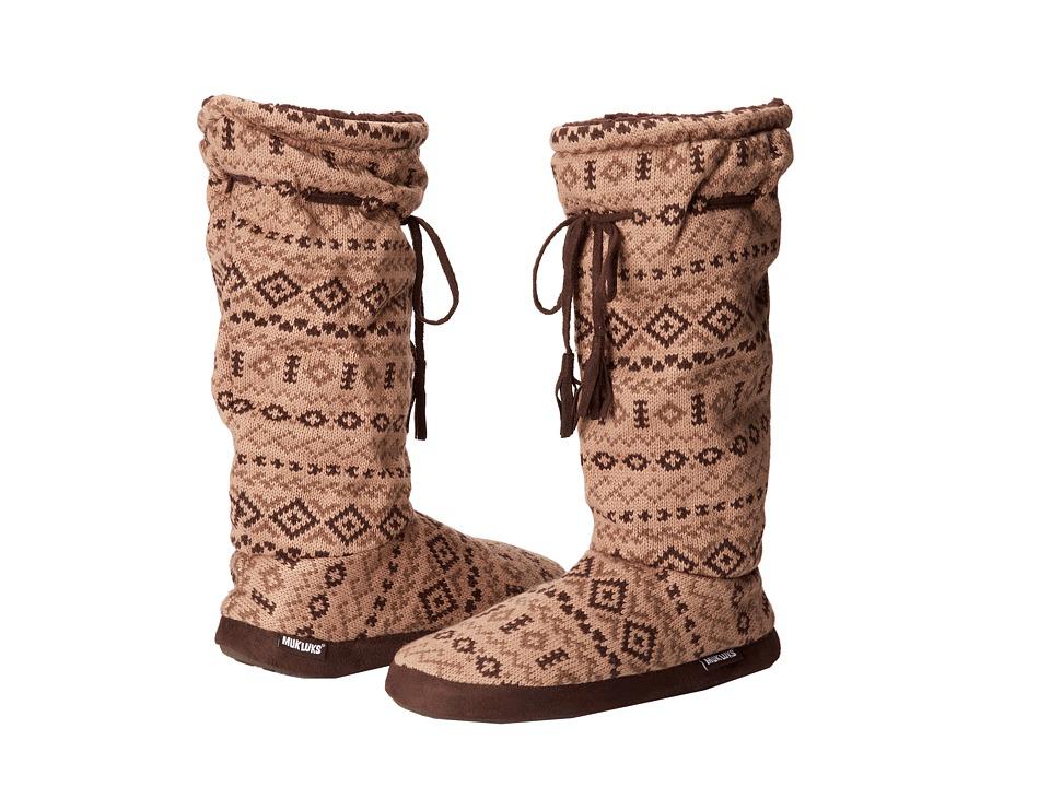 MUK LUKS - Tall Grommet Tie Boot (Fair Isle 2 Brown) Women