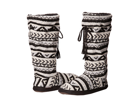 MUK LUKS - Tall Grommet Tie Boot (Aztec Fair Isle Light Grey) Women's Boots