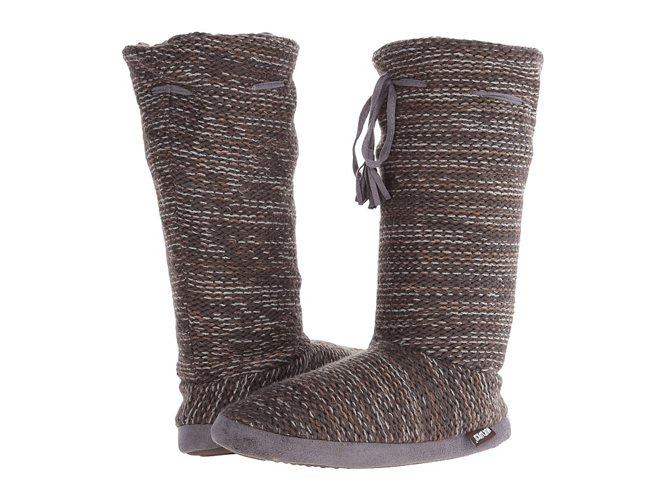 MUK LUKS - Tall Grommet Tie Boot (Dark Grey) Women