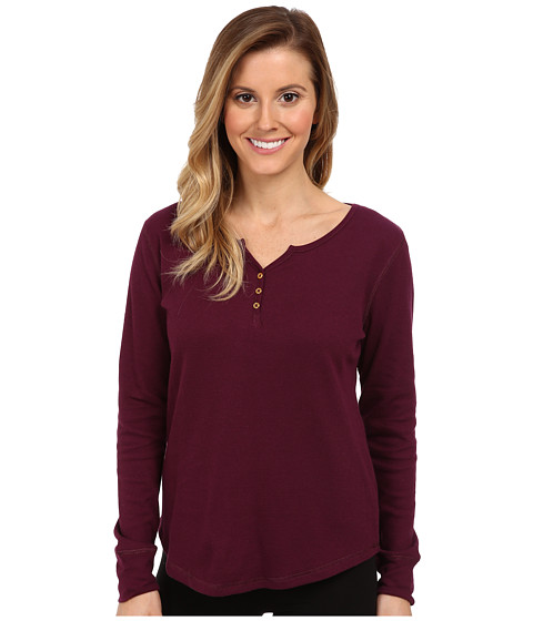 Jockey - Traditional Baby Waffle L/S Henley Top (Curant Berry) Women