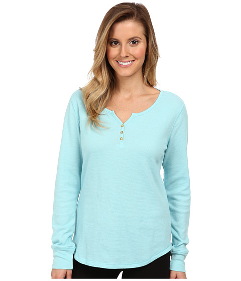 Jockey - Traditional Baby Waffle L/S Henley Top (Angel Aqua) Women's Pajama