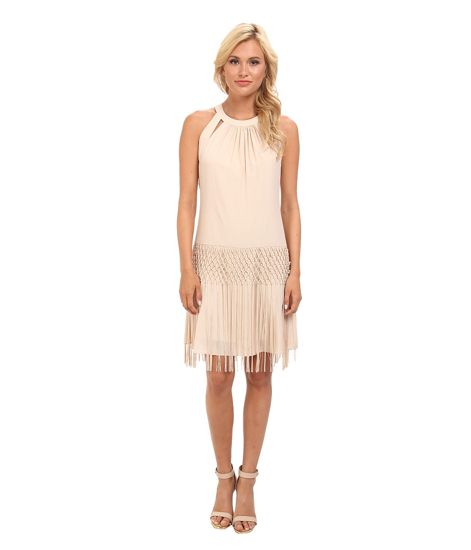 Vince Camuto - Bodycon Crepe Dress w/ Crochet Fringe Detail (Cement) Women