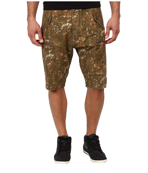 French Connection - Summer Rain Camo Shorts (Military Olive) Men's Shorts