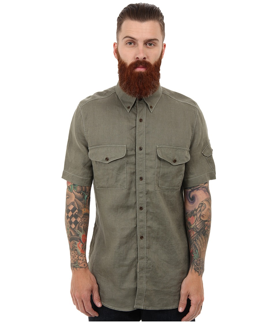 French Connection - Pigment Dyed Linen Shirt (Military Olive) Men's Short Sleeve Button Up