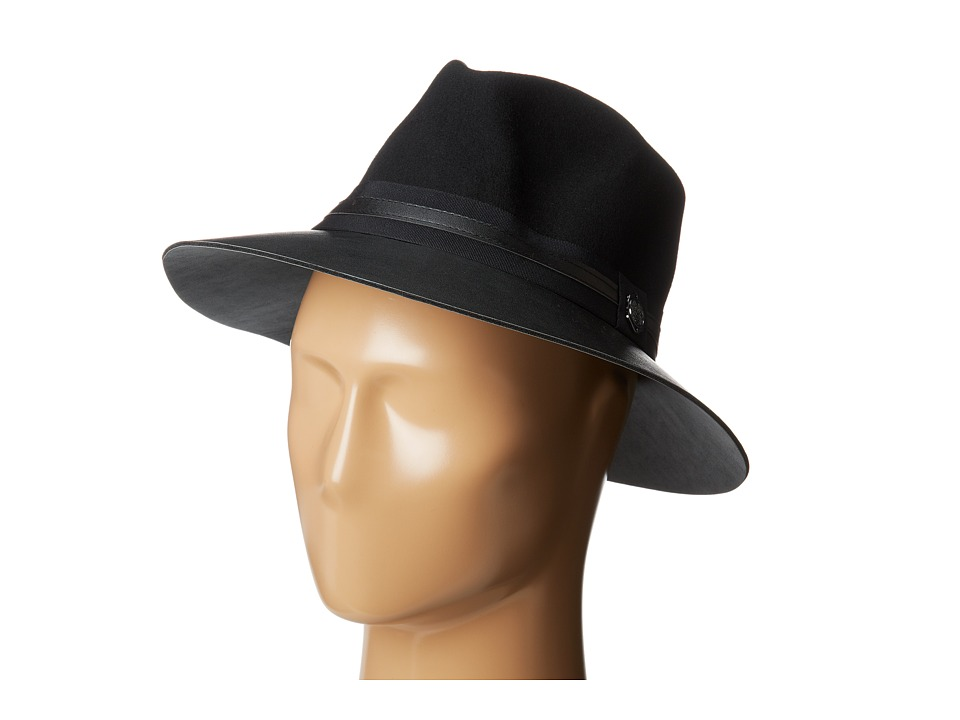 Vince Camuto - Faux Leather Brimmed Panama (Black) Caps