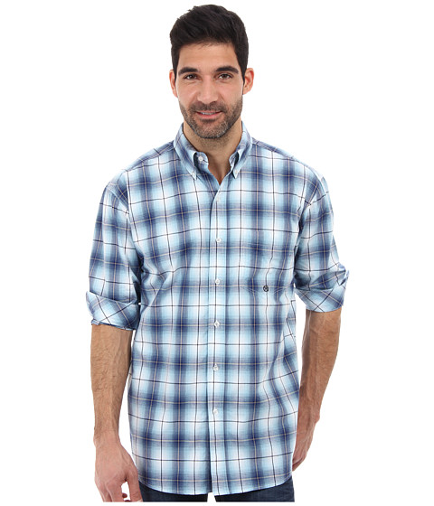 Roper - Mesa One Pocket Button L/S Shirt (Blue) Men