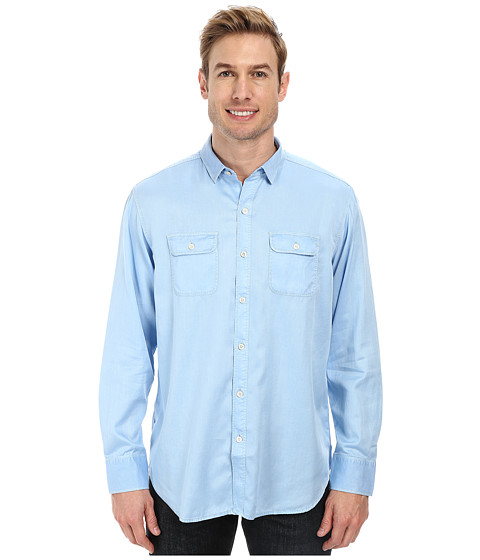 Tommy Bahama Denim - Twill Factor L/S Button Up (Chambray Blue) Men's Long Sleeve Button Up