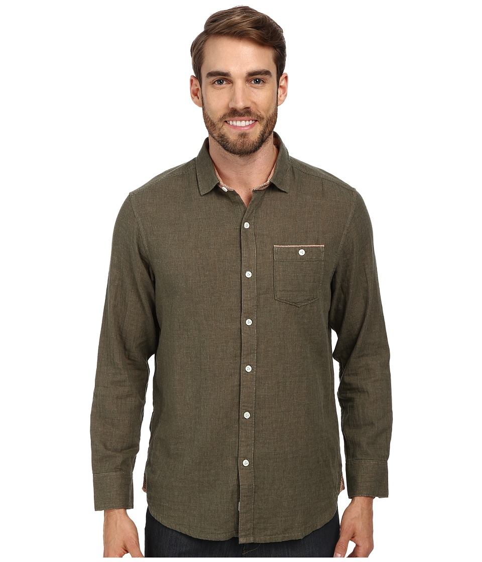 Tommy Bahama - Island Modern Fit Seeing Double L/S Shirt (Olive Heather) Men's Long Sleeve Button Up