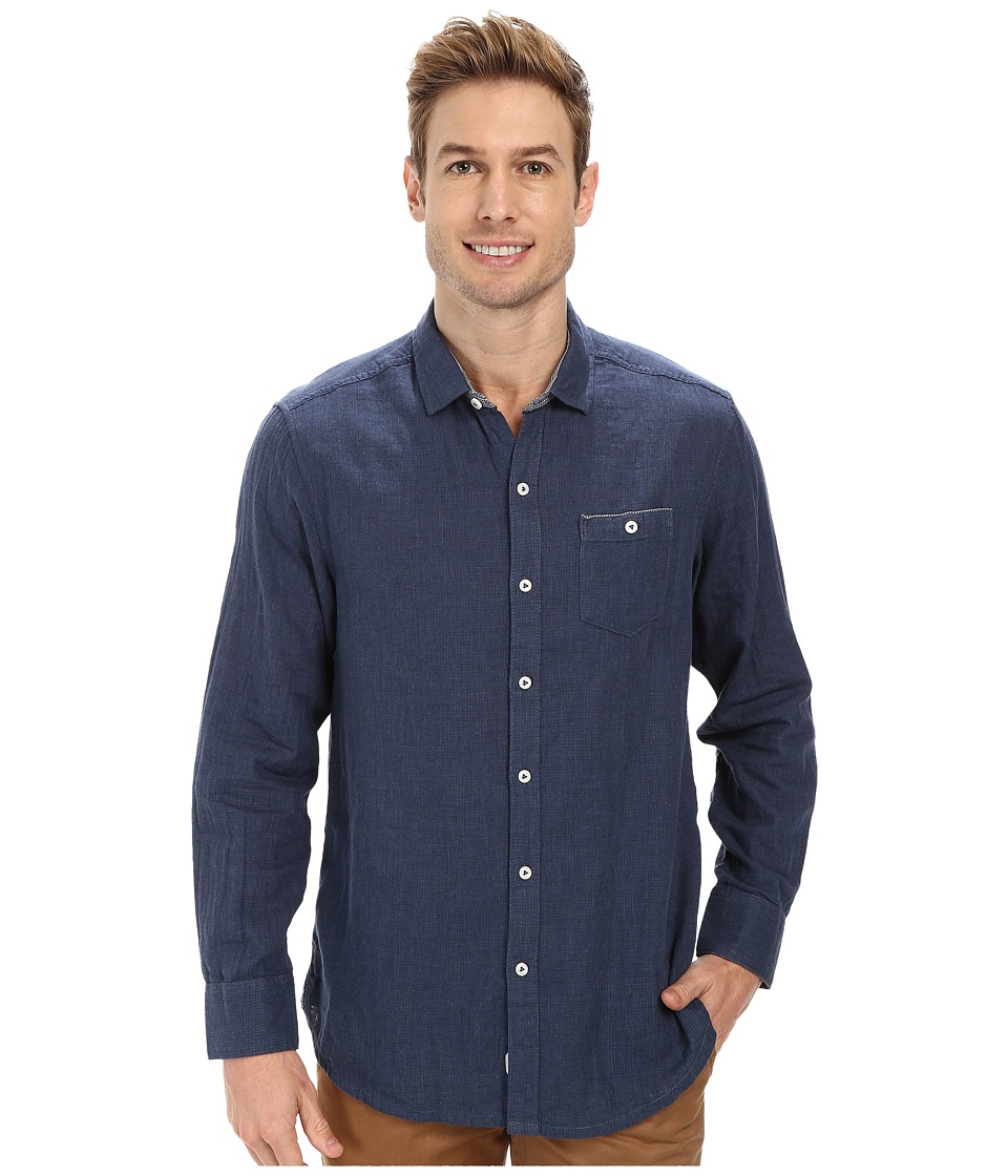 Tommy Bahama - Island Modern Fit Seeing Double L/S Shirt (Navy Heather) Men