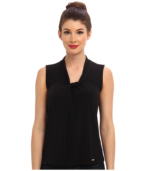Calvin Klein - Sleeveless Knot Mattie Jersey Top (Black) Women's Sleeveless