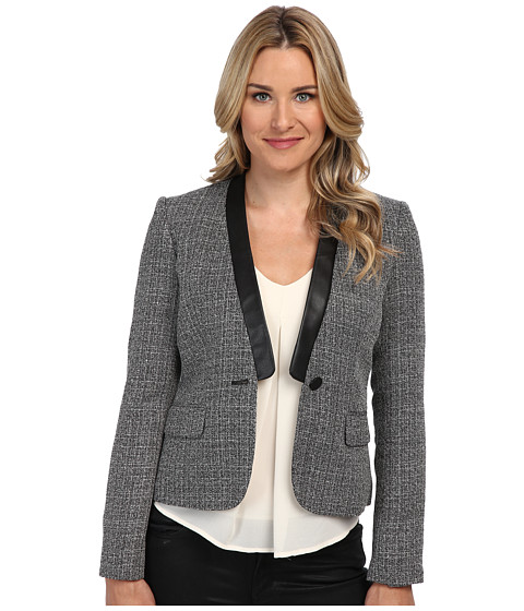 Calvin Klein - Novelty Jacket w/ Pu Trim (Black Eggshell) Women's Jacket