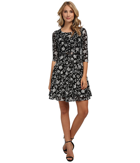Yumi - Later Skater L/S Lace Dress (Black) Women's Dress