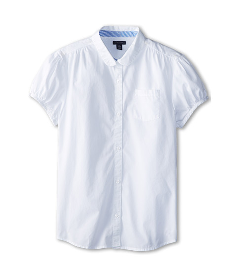 Tommy Hilfiger Kids - Peter Pan School Girl S/S Button Up (Big Kids) (White) Girl's Short Sleeve Button Up