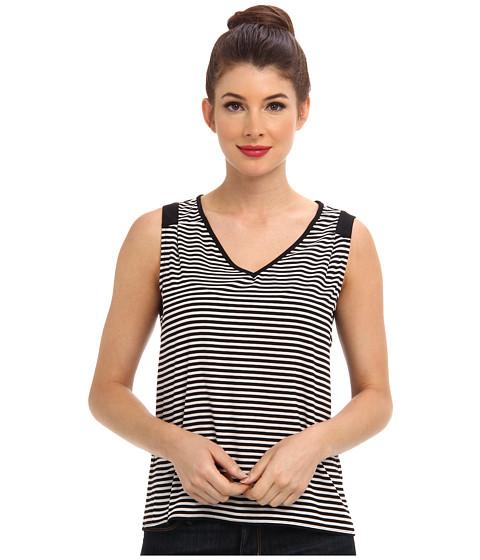 Calvin Klein - Striped Sleeveless Woven (Eggshell Black) Women's Sleeveless