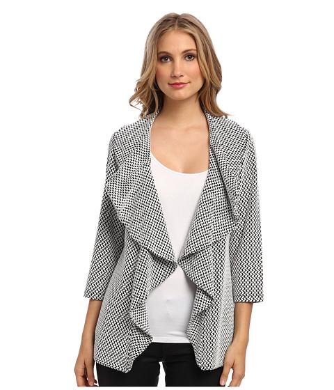 Calvin Klein - Long Ruffle Ponte Jacket Zig-Zag Print (Black Eggshell) Women's Coat