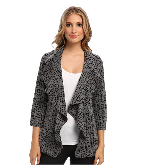 Calvin Klein - Long Circle Print Ruffle Ponte Jacket (Charcoal Black) Women's Coat