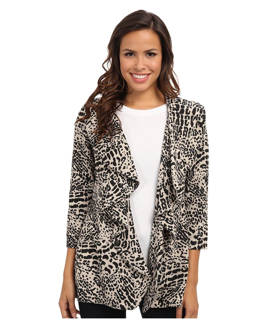 Calvin Klein - Long Animal Print Ruffle Ponte Jacket (Black Khaki) Women