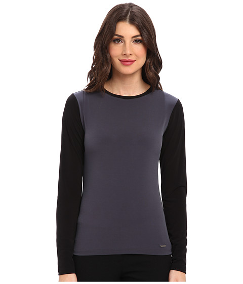 Calvin Klein - Color Block Long Sleeve Mattie Jersey Top (Black Charcoal) Women's Long Sleeve Pullover