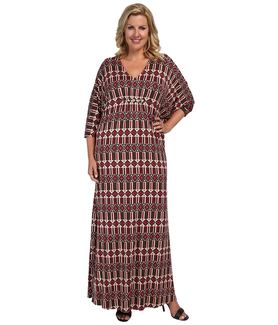 Rachel Pally Plus - Plus Size Florence Caftan White Label Print (Samba Arizona) Women's Dress