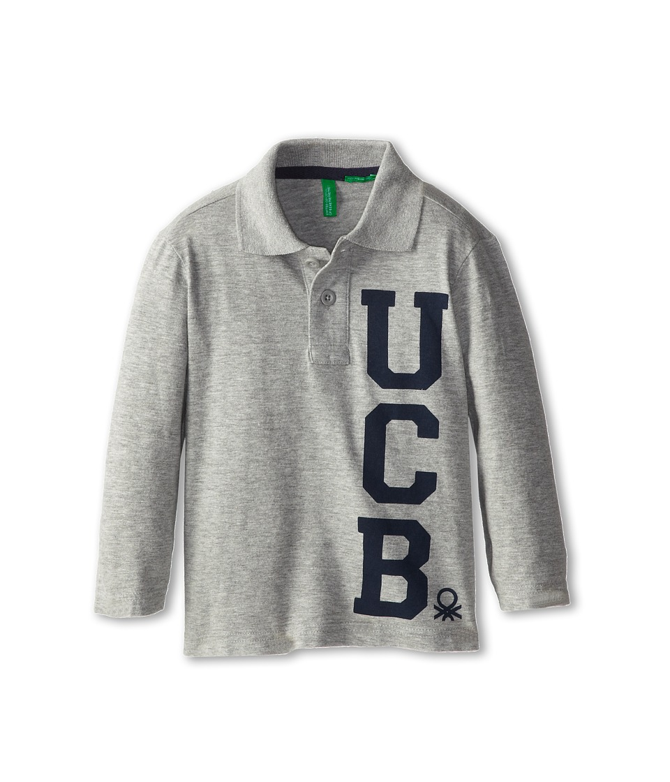 United Colors of Benetton Kids - L/S Polo Shirt 3YQ8C3013 (Toddler/Little Kids/Big Kids) (Light Grey) Boy's Long Sleeve Pullover