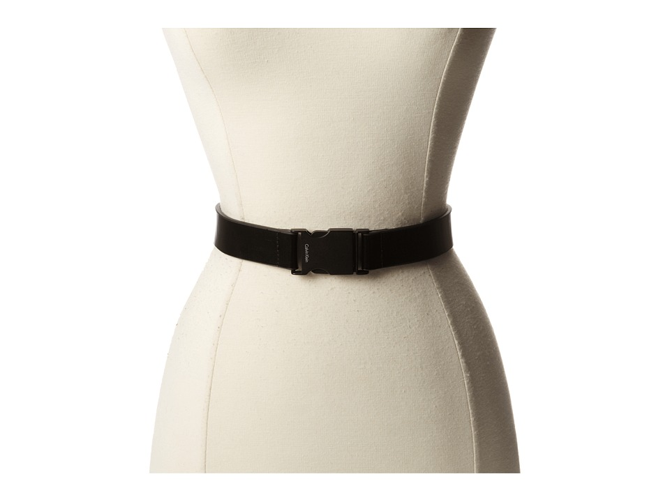 Calvin Klein - 30MM Belt w/ Push Lock Buckle (Black/Black) Men's Belts