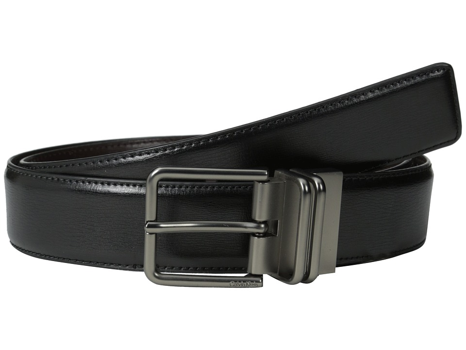 Calvin Klein - 35MM Reversible Belt w/ Harness Buckle (Black/Brown) Men's Belts