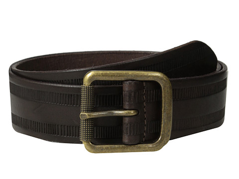 John Varvatos - 38mm Leather Belt w/ Harness Buckle (Chocolate) Men