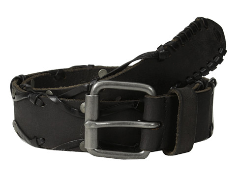 John Varvatos - 38mm Leather Belt w/ Harness Buckle (Black) Men