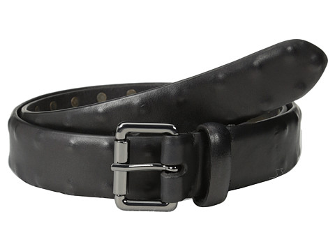 John Varvatos - 32mm Leather Belt w/ Stud Detail (Black) Men