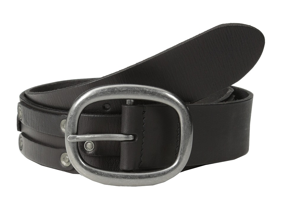 John Varvatos - 38mm Leather Belt w/ Harn Buckle and Stud (Black) Men