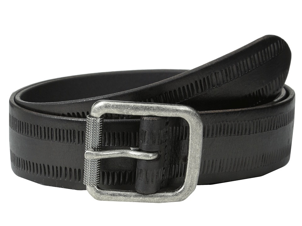 John Varvatos - 38mm Leather Belt w/ Harness Buckle (Black 1) Men's Belts