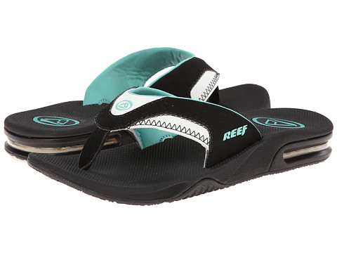 Reef - Fanning W (Black/Aqua) Women's Sandals