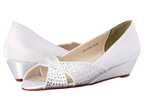 Touch Ups - Alice (White Satin) Women's Wedge Shoes