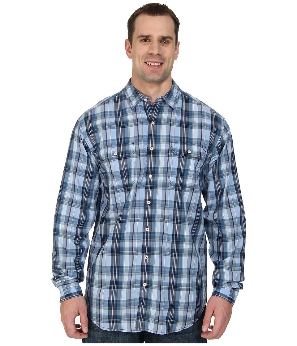 Tommy Bahama Big & Tall - Big Tall Plaid Mesa L/S Button Up (Light Blue) Men's Long Sleeve Button Up