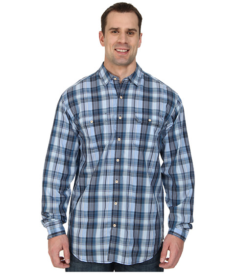 Tommy Bahama Big & Tall - Big Tall Plaid Mesa L/S Button Up (Light Blue) Men's Long Sleeve Button Up