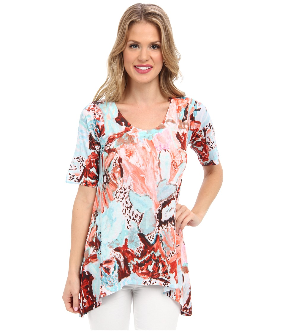 Nally & Millie - Printed Elbow Sleeve High Low Tunic (Multi) Women