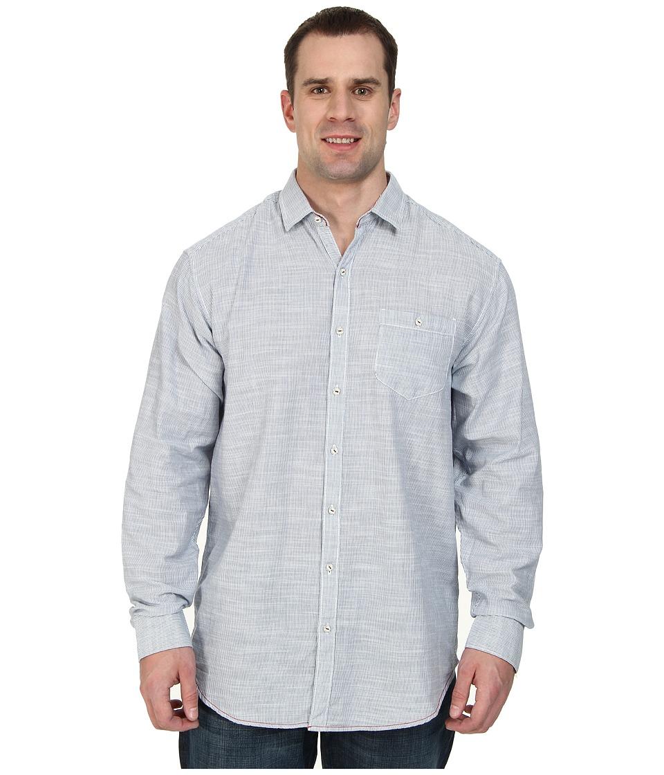 Tommy Bahama Big & Tall - Big Tall Havasu Stripe L/S Button Up (Dress Blue) Men's Long Sleeve Button Up