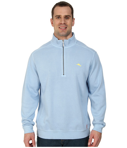 Tommy Bahama Big & Tall - Big Tall Antigua Half Zip Sweatshirt (Fluid Blue) Men
